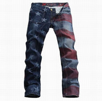 american flag print pants - Men s personality designer brand jeans male gradient Stars and Stripes American flag print jeans painted pattern denim pants