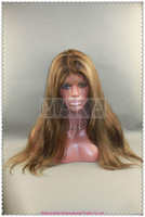 Wholesale full lace wig indain human hair highlight silk straight inch