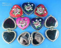 Heart Shaped Compact Mirror Favors Silk Embroidered double side mix color 35pcs lot Free