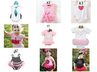 Wholesale 9mixed styles baby todder s girls ruffle lace onesies one piece ruffle onesies short sleeve rompers