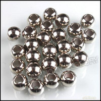 Wholesale Plastic CCB Charms Beads Rhodium Plated Big Hole Smooth Fit Bracelet DIY