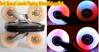 Wholesale Free Ship pair Drift Skates Drift Skate board Super PU wheel Colourful Flashing Light