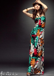 Wholesale 2011 New Fashion Colorful Floral Elegance Bohemia Bbanana leaf Banana Leaf Maxi Long Dress