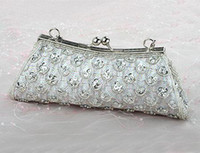 Wholesale Silver Gorgeous Satin Acrylic Shell Wedding Party Evening Bag Handbag Purse Clutch