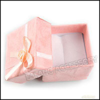 Wholesale Pink Square Paper Ring Gift Display Boxes Jewelry Packaging Box x40x32mm