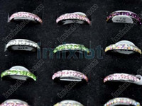 Wholesale Ring Jewelry Multicolor CZ amp Stainless Steel Rings Stainless Jewelry SR73