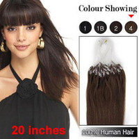 Wholesale 20 quot Straight Chocolate Brown Micro Loop Ring Remy Human Hair Extensions g s s MLR033