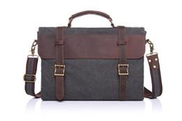 Wholesale Canvas Briefcase Bags Men - fashion retro Satchels,canvas and crazy horse leather single shoulder bag,briefcase for unisex 2016 hot sale wholesale