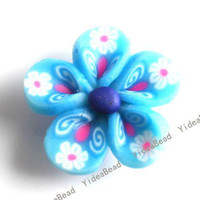 Wholesale 40pcs Hot Sale blue Flower Fimo Polymer Clay Beads Fit Diy Bead Bracelet HAVE STOCK mm