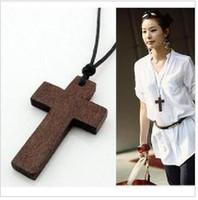 Women's wooden crosses - Stylish Women s Wooden Cross Pendant Necklace Coffee In Stock