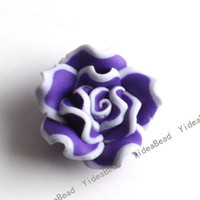 Wholesale 40pcs Hot Sale Purple Rose Fimo Polymer Clay Charms Spacer Beads Fit Bracelets Have in Stock