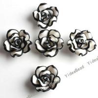 Wholesale 200 Hot Sale bLACK Flower Fimo Polymer Clay COLOR Rose Beads Fit Diy Bead Bracelet mm