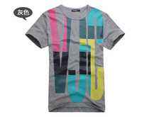 Summer T- shirt, personality patchwork color round neck short...