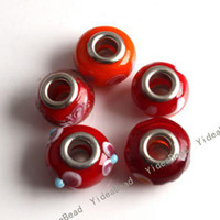 lampwork beads - 42pcs New Mixed Red Charms Lampwork Beads Fit Bracelet