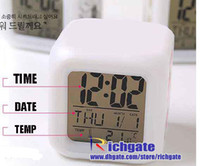 Wholesale NEW Colour change Glowing LED digital alarm clock Light Night Lamp table bedding room decoration