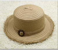 Cheap New Style high quality Fashion Hats Sun Hats Hat & Caps Leisure Hand Straw Hats with coconut button
