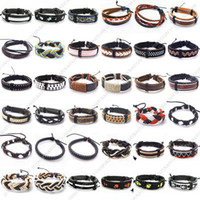 Wholesale 10pcs Mix Style Leather Bangles Bracelets Fit DIY Craft Jewelry adjustable inch LBA1