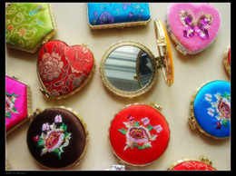 Vanity Make up Mirror Stock Silk Embroidered Double side mix color styles 50pcs Free
