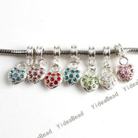 Wholesale 14 Mix Colorful Rhinestone Pandent Heart Pendants Charms Beads Jewelry Fit European Necklace