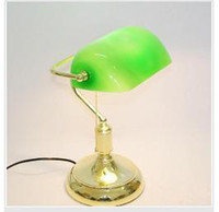 banker lamp shades - Modern Glass Table Lamp VINTAGE BRASS BANKERS LAMP With GREEN GLASS SHADE