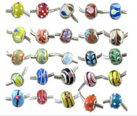 Silver With Metal Elements size: 13 x 9mm 100PCS Mixed colors murano glass beads, big hole beads, jewelry beads findings