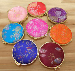 Wholesale Round Pocket Mirror Cheap Damask Compact Mirrors Portable Double sided Makeup Mirror mix color Free