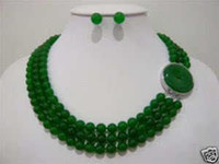 Wholesale Beautiful rows mm green jade necklace earrings set