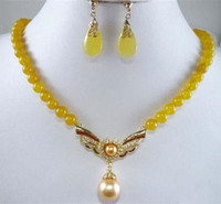 Wholesale Yellow Jade Pearl pendant Necklace Earrings