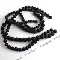 Wholesale 150pcs MIxed Fashion Black Volcanic Lava Gemstone Loose Beads Fit European Bracelets DIY