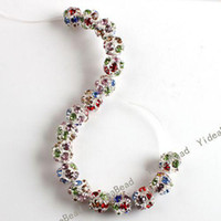 Wholesale 50pcs Mixed Rhinestone Hollow Out Spacer Beads Fit Bracelet Necklace Jewelry Accessories DIY