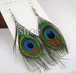 Wholesale 30 Pairs Tibetan Natural Peacock Feather Earring fashion earrings