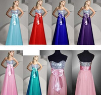 Real Photos Strapless Chiffon Ya716te Sequins Bow Bridesmaid Evening Prom Gown UK8