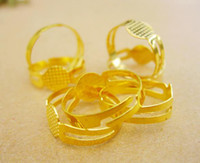 Wholesale 400pcs Gold Tone Copper Alloy Adjustable Finger Ring Base Split Rings mm mm