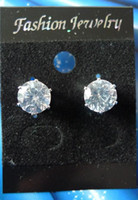 clip on earrings - MAGNETIC stud earrings mm Round CLEAR Zircon earrings clip on earrings men earrings fashion jewelry