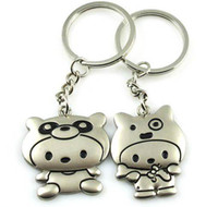 Wholesale Lover Cat Metal Keychain Couple Key Chain Keyholder Promotional Gift Pairs