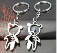 Wholesale Hollowed Lover Bear Metal Key Ring Key Chain Promotonal Products pairs