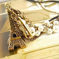 abalone iron - Hot Fashion Jewelry Leather Chain Iron Tower Pearl Double Layer Necklace