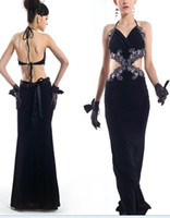 Wholesale Black nail bead embroiders long gowns scoop back sexy plastic