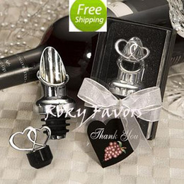 Wholesale Stainless Steel Heart Bottle Stoppers - Free Shipping!50pcs lot High Quality Heart Design Wine Pourer Stopper Bomboniere Wedding Favors,party favors, heart bottle pourer& stopper