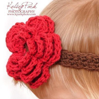baby elastic headband size - Hair accessories crochet baby girl headbands with a four petal flower cotton yarn elastic Y size