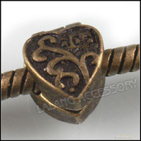 Wholesale European Charms Stopper Beads Copper Bronze Heart Shape Fit Bracelet Chain Cord