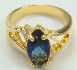 new style Lady's sapphire Crystal 10k yellow Gold Ring