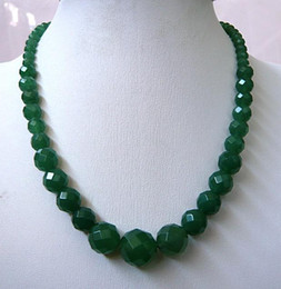 """6-14mm Natural Emerald Faceted Beads Necklace 18"""""""