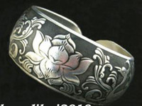 Wholesale Exquisite Tibet Silver Carved Flowers cuff Bracelet pc