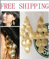 Wholesale fish scale spacers gold alloy plated ladies tassel bohemia style charm leaf charm earrings