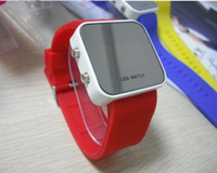 Wholesale Fashion LED Mirror Watches Red Digital Plastic Face Quartz Unisex watch Woman and Man Dropship