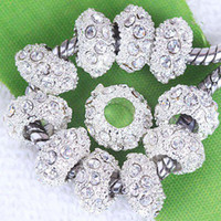 Wholesale 100PCS MM Clear Crystal Spacer Charm Bead Fit Bracelet Silver Plated Rhinestone Big Hole Bead