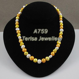 New Free Shipping A759#8-9MM 18inch White Orange Yellow Mix Color Fresh Water Pearls Necklace Handmade Wedding Birthday Party Gift Jewelry