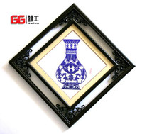 Wholesale Two lane box blue and white porcelain paper cut adornment art paper cut