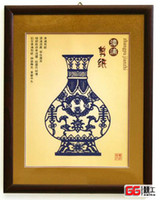 Wholesale Singleline box blue and white porcelain paper cut adornment art paper cut